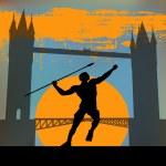 London 2012, An Athlete hurling a javelin — Stock Vector