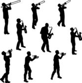Brass Musician Silhouettes — Stock Vector