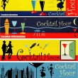 Retro cocktailuurtje web banners — Stockvector