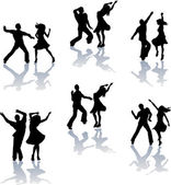Salsa Dance Silhouettes — Stock Vector