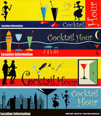 Retro Cocktail Hour Web Banners — Stock Vector
