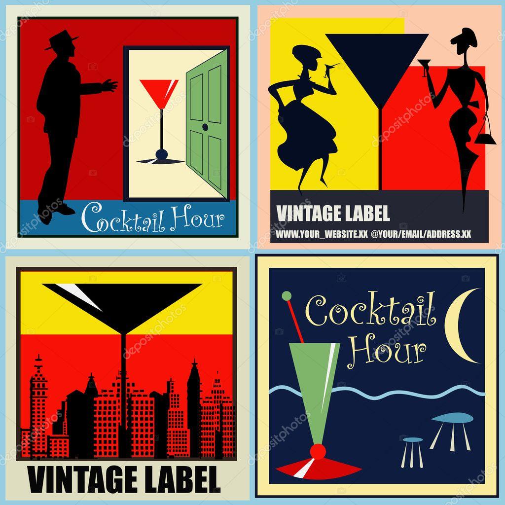 Cocktail Logo Vector a Set of Vector Retro Cocktail