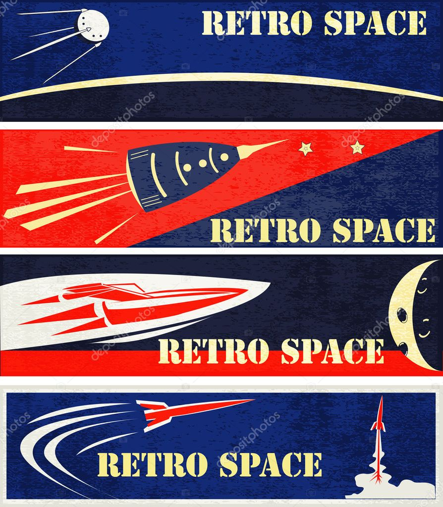 A set of Retro Space Web Banner Illustrations  Stock Vector #9668377