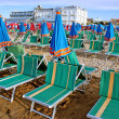 Sunbeds on the Beach, Cattolica, Italy - Foto Stock