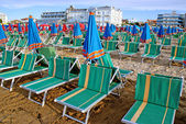 Sunbeds on the Beach, Cattolica, Italy — Stock Photo