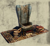 Books and Old Chair Illustration — Stock Photo