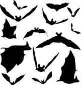 Bat Silhouettes — Stock Vector