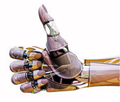 人造人間の親指は上げます — ストック写真