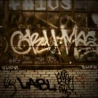 Graffiti Grunge Covered Brick Wall Background Texture — Stock Photo