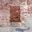 Grunge Covered Brick Wall and Window — Stock Photo