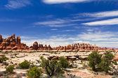 Hoodoos skalní krajiny v národním parku canyonlands — Stock fotografie