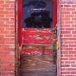 Old Red Door in Brick Wall — Stock Photo