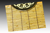 Darts on a Bamboo wall — Stock Photo
