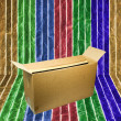 Royalty-Free Stock Photo: Brown box placed on the wall.