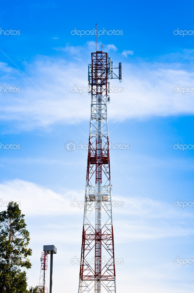 Signal poles stand up to the sky.  Stock Photo #9563155