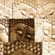 traditional thai style lord buddhas face wood carving — Stock Photo