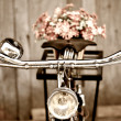 Stock Photo: Old bicycle and flower vase