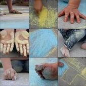 Fun with sidewalk chalk — Stock Photo
