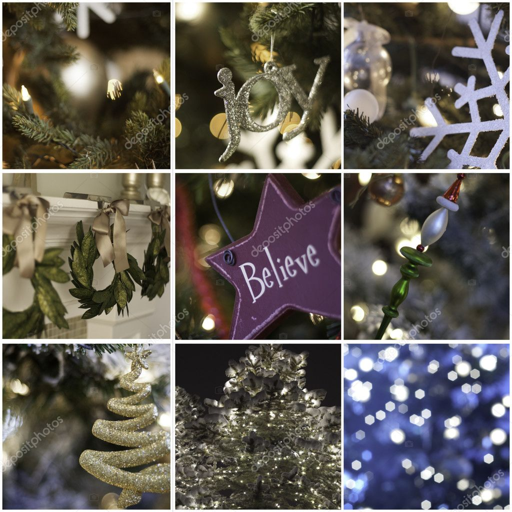 Nine pictures in collage of christmas time and decorations — Stock Photo #10412600