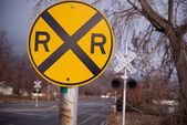 Railroad crossing signs — Stock Photo
