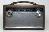 Antique radio in a leather case — Stock Photo