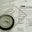 Tax form 1040, compass — Stock Photo