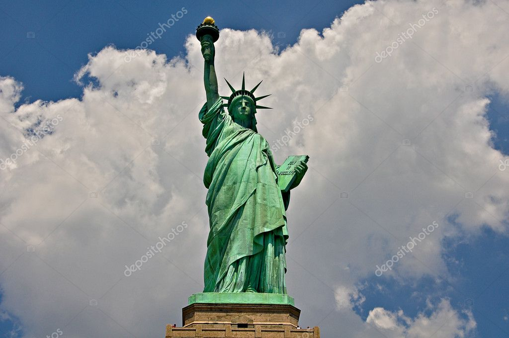 Statue of Liberty on white-blue background — Stock Photo #9210491