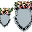 Classic antique shield with rose — Stock Vector