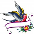 Royalty-Free Stock Векторное изображение: Swallow vintage tattoo