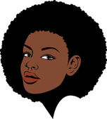 Afro lady face illustration — Stock Vector