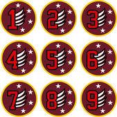 Number emblem patch design — Stock Vector