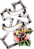 Croce con emblema rosa — Vettoriale Stock