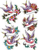Swallow tattoo design — Stock Vector