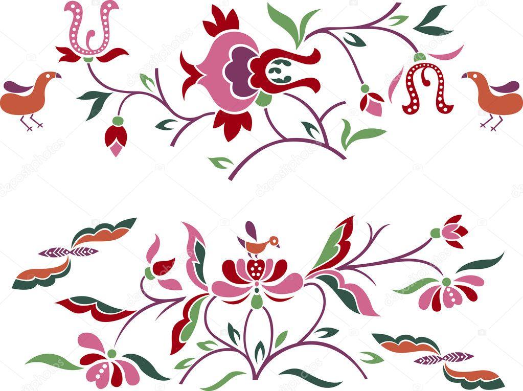 Floral embroidery pattern design — stock vector pauljune