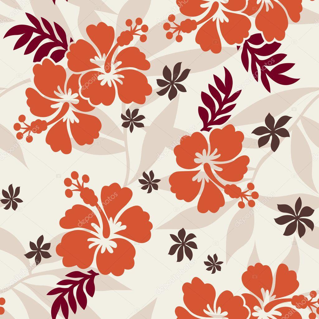 Hibiscus Flower Print Stock Vector Pauljune 10068483