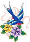 Swallow tattoo — Stock Vector