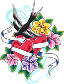 Swallow flower tattoo — Stock Vector