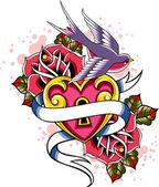 Fågel med rosa blomma — Stockvektor