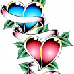 Double heart tattoo design — Stock Vector