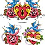 Sparrow heart and flower emblem — Stock Vector