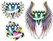 Diamond emblem set — Stock Vector
