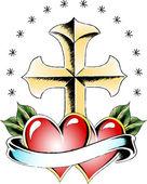 Cross symbol tattoo — Stock Vector