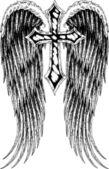 Tatouage croix et aile — Vecteur