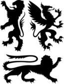 Heraldic royal griffin crest design — Stock Vector