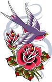 Bird with rose flower — Stock Vector