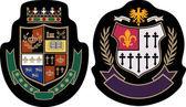 Fashion college emblem shield — Stock Vector