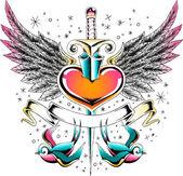 Heart with sword emblem — Stock Vector