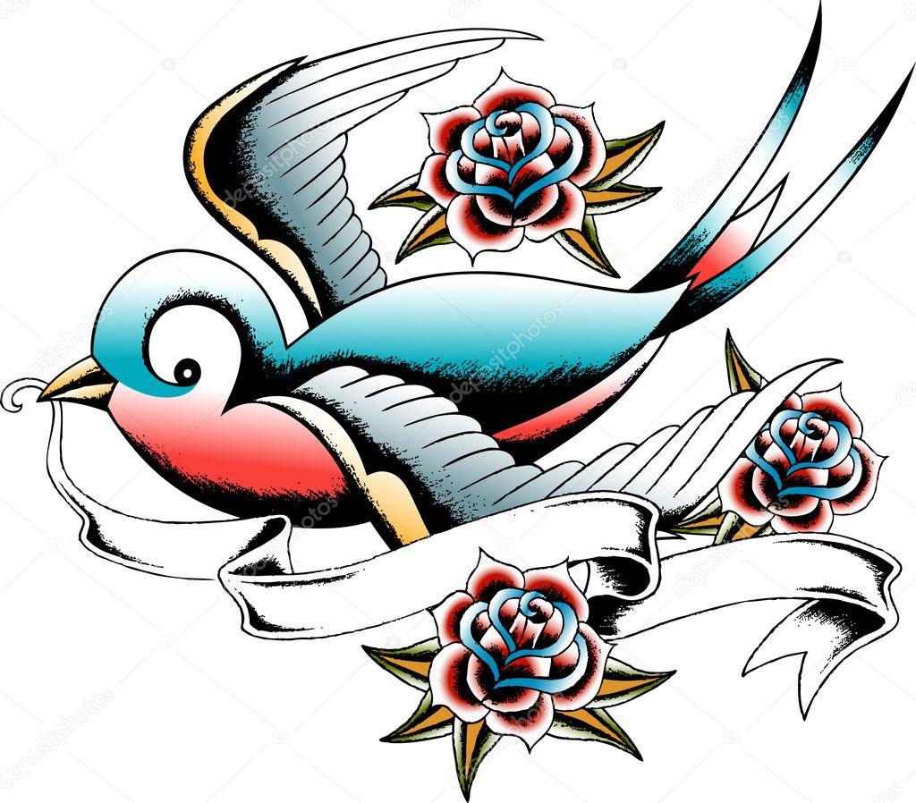 燕子纹身设计 — 矢量图片作者 pauljune