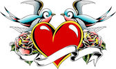 Swallow heart ribbon banner — Stock Vector