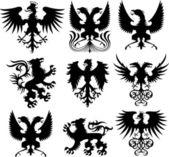 Heraldic crest vector set — Stock Vector